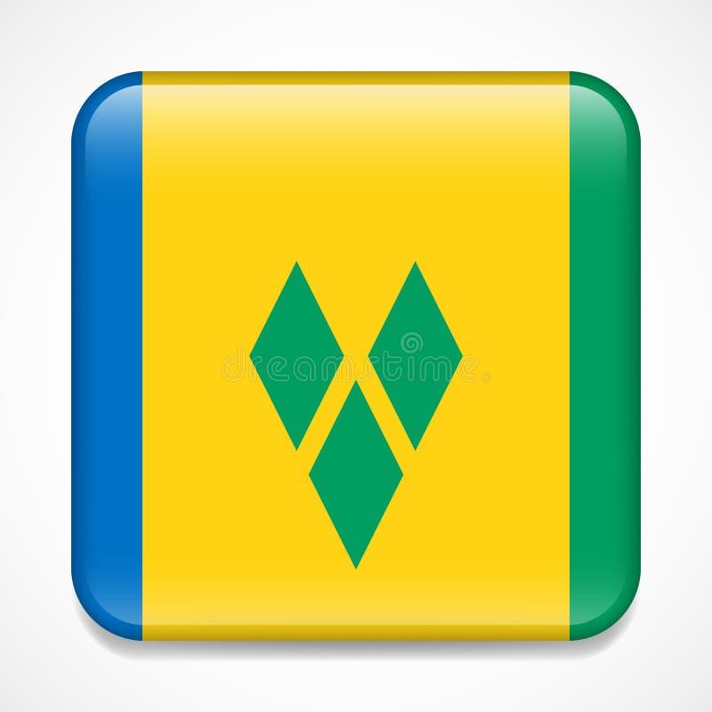 Indicateur du Saint Vincent And The Grenadines Insigne brillant de place illustration de vecteur