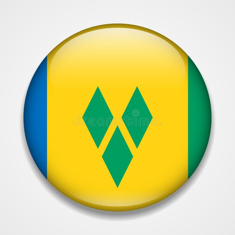 Indicateur du Saint Vincent And The Grenadines Insigne brillant rond illustration libre de droits