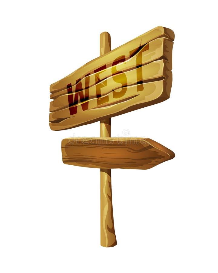 Indicateur en bois au signe occidental de flèche avec l'indicateur de direction illustration libre de droits