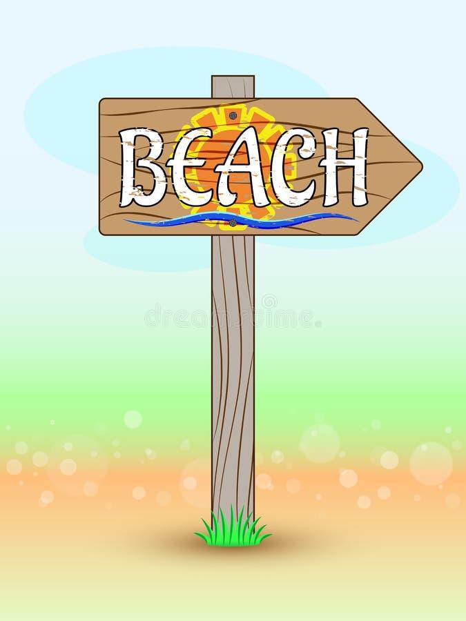 Indicateur en bois pour échouer, avec le soleil, la vague bleue et les mots dans le style grunge Flèche de guide sur le fond colo illustration de vecteur