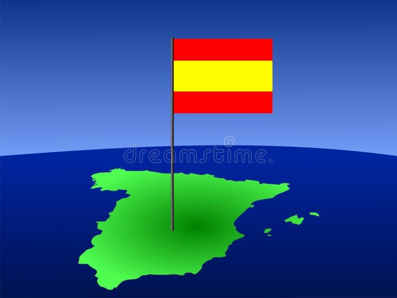 Indicateur espagnol sur la carte illustration stock