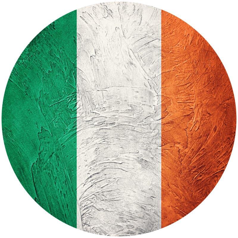 Indicateur grunge de l'Irlande Drapeau irlandais de bouton d'isolement sur le backgro blanc illustration stock