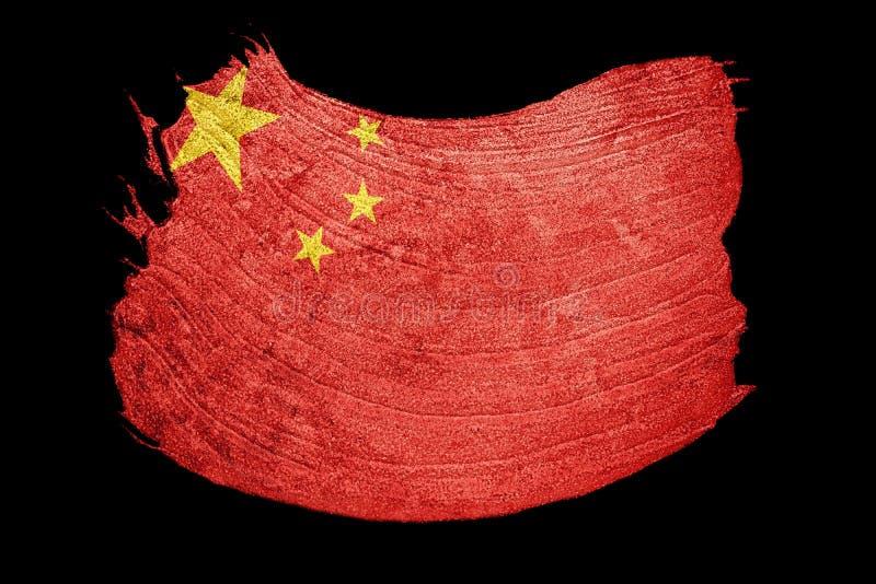 Indicateur grunge de la Chine Drapeau de Chines avec la texture grunge Rappe de balai illustration stock