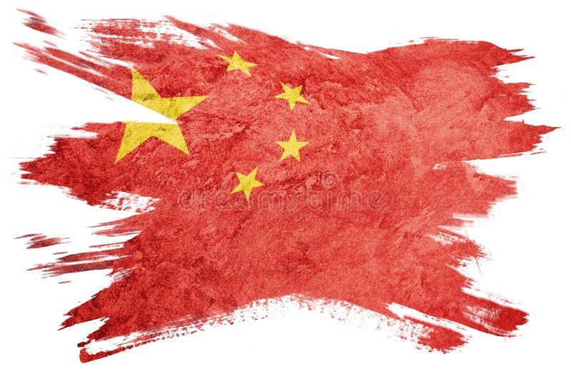 Indicateur grunge de la Chine Drapeau de Chines avec la texture grunge Rappe de balai illustration libre de droits