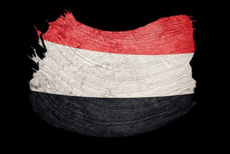 Indicateur grunge du Yémen Drapeau du Yémen avec la texture grunge Rappe de balai illustration de vecteur