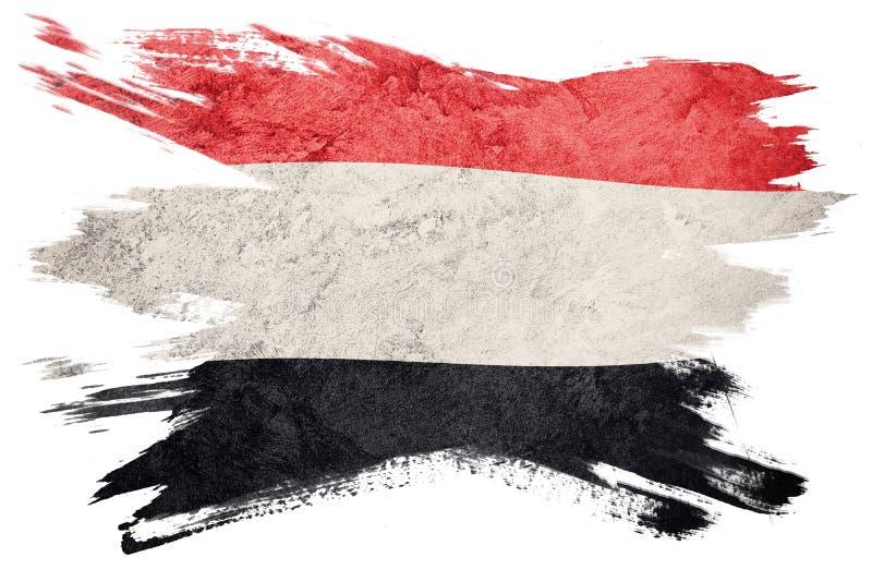 Indicateur grunge du Yémen Drapeau du Yémen avec la texture grunge Rappe de balai illustration stock