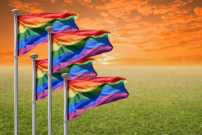 Indicateur homosexuel de fierté d'arc-en-ciel images libres de droits