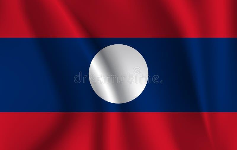 indicateur Laos Drapeau de ondulation réaliste de Lao People's Democratic Republic illustration de vecteur