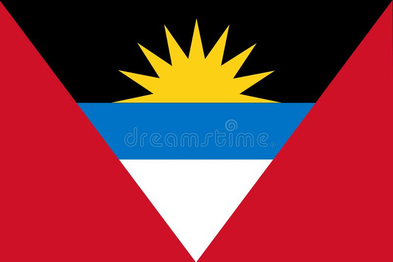 Indicateur national de l'Antigua et du Barbuda Fond avec le drapeau de l'Antigua-et-Barbuda illustration de vecteur