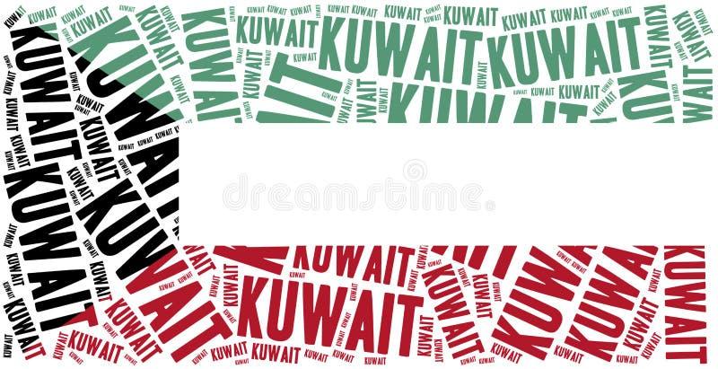 Indicateur national du Kowéit Illustration de nuage de Word illustration stock