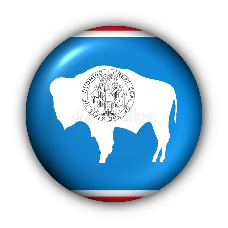Indicateur rond d'état des Etats-Unis de bouton du Wyoming illustration stock
