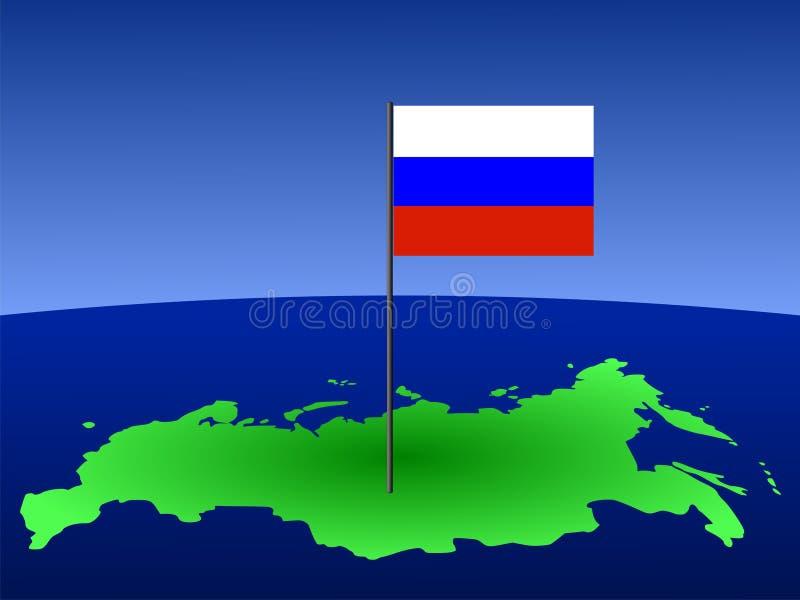 Indicateur russe sur la carte illustration stock