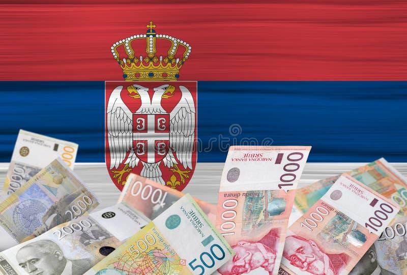 Indicateur serbe et argent photographie stock libre de droits