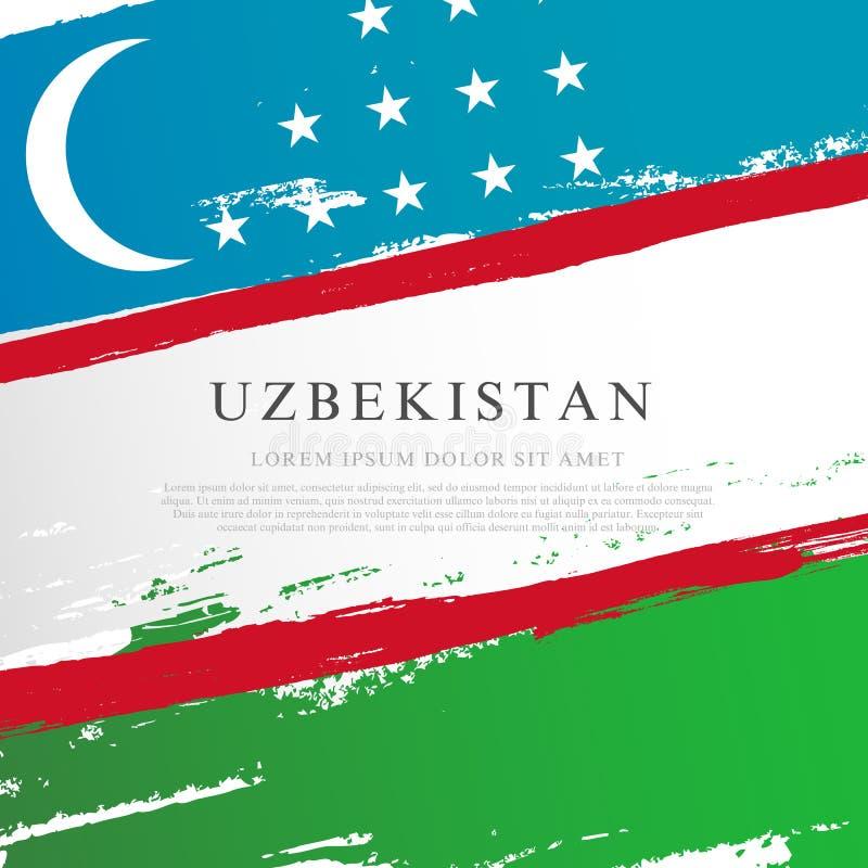 indicateur uzbekistan Courses de brosse dessin?es ? la main Fond de grunge de l'ind?pendance Day illustration stock