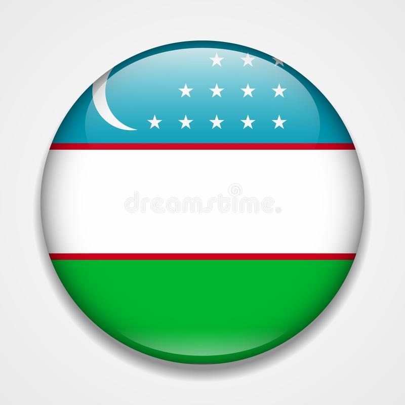 indicateur uzbekistan Insigne brillant rond illustration stock