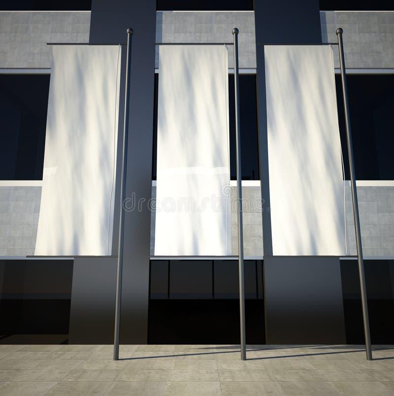 indicateurs 3d de publicité vides blanc sur le mur de construction image stock