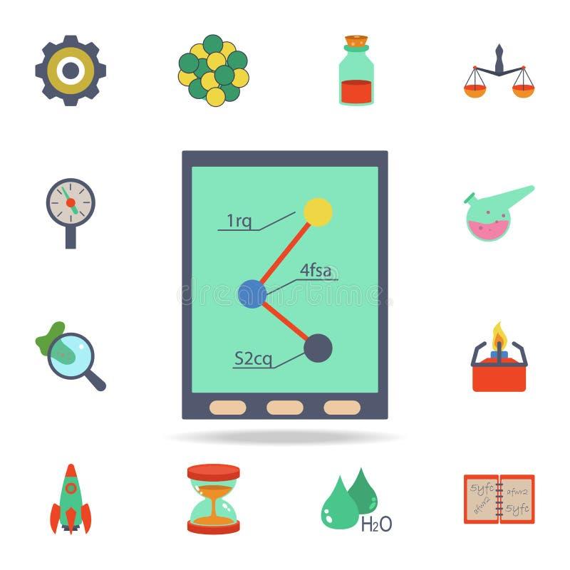 indicateurs chimiques colorés sur l'icône de comprimé Ensemble détaillé d'icônes de la science colorée Conception graphique de la illustration stock