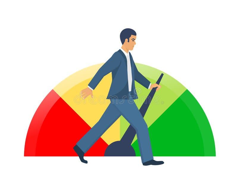 Indicateurs colorés de score de crédit L'homme améliore sa solvabilité illustration stock