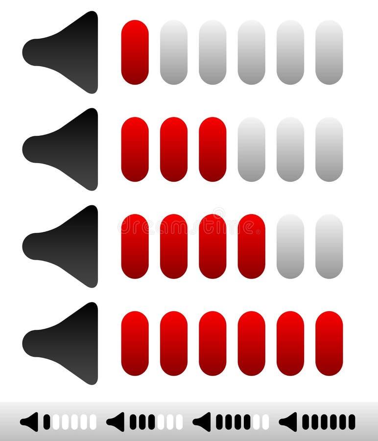 Indicateurs de niveau de volume sain, régleurs avec des barres illustration libre de droits