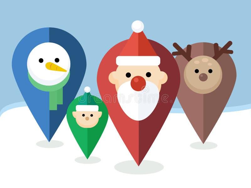Indicateurs de Noël de vecteur avec des icônes - Santa, Elf, renne, bonhomme de neige illustration stock