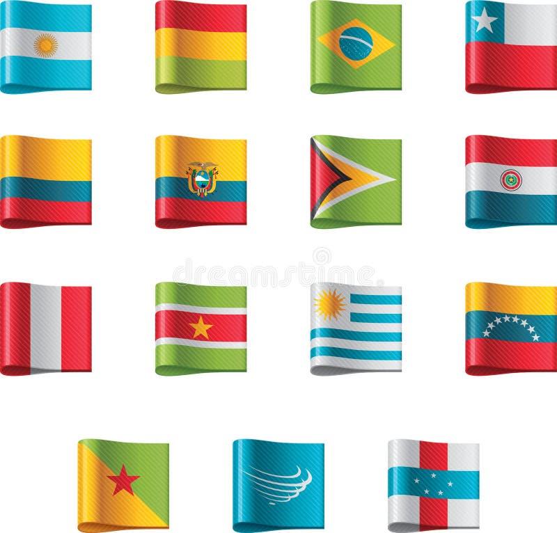 Indicateurs de vecteur. l'Amérique du Sud, partie illustration stock