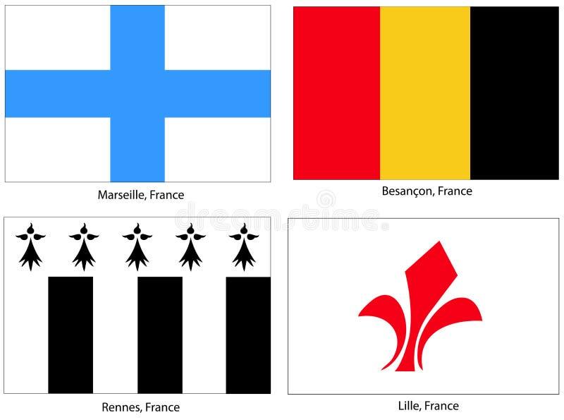 Indicateurs de ville de la France réglés illustration stock