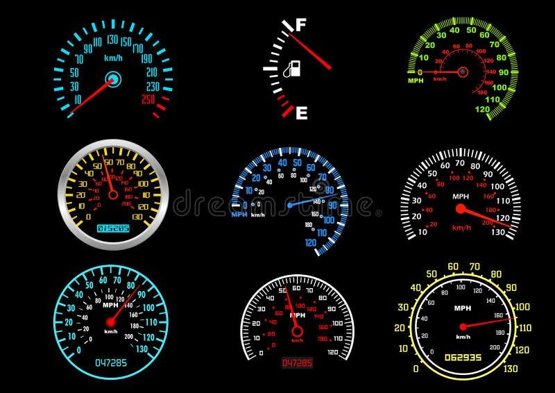 Indicateurs de vitesse de véhicule illustration libre de droits