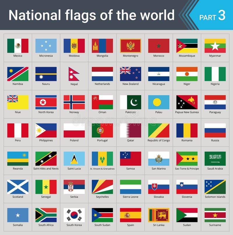 Indicateurs du monde Collection de drapeaux - ensemble complet des drapeaux nationaux illustration stock