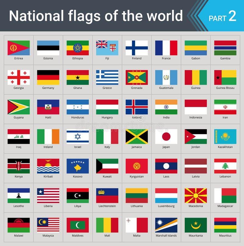 Indicateurs du monde Collection de drapeaux - ensemble complet des drapeaux nationaux illustration de vecteur