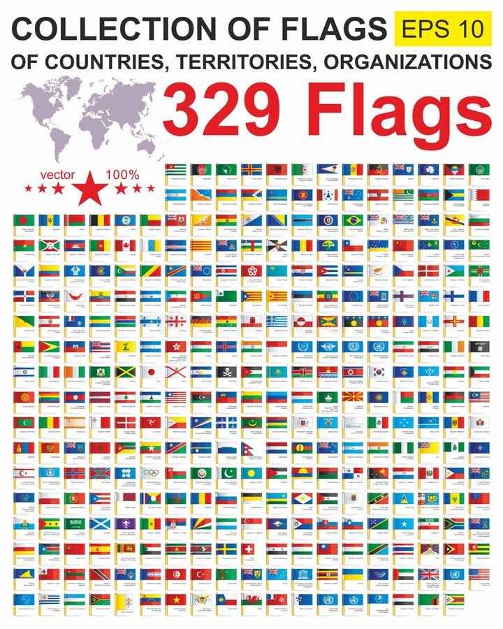 Indicateurs du monde Drapeaux du monde de collection des États souverains, des territoires et des organismes avec des noms Worl c illustration libre de droits