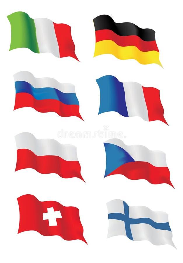 Ensemble de drapeaux européens illustration de vecteur