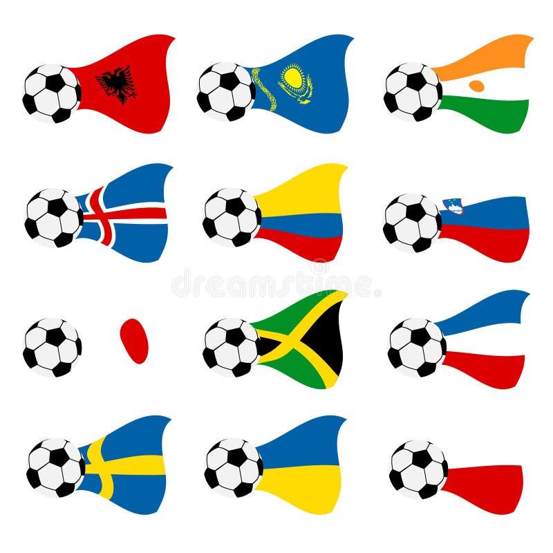 Indicateurs nationaux du football de vecteur illustration stock