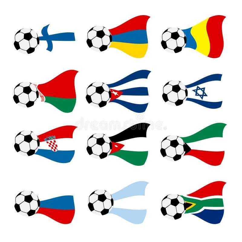 Indicateurs nationaux du football de vecteur illustration libre de droits