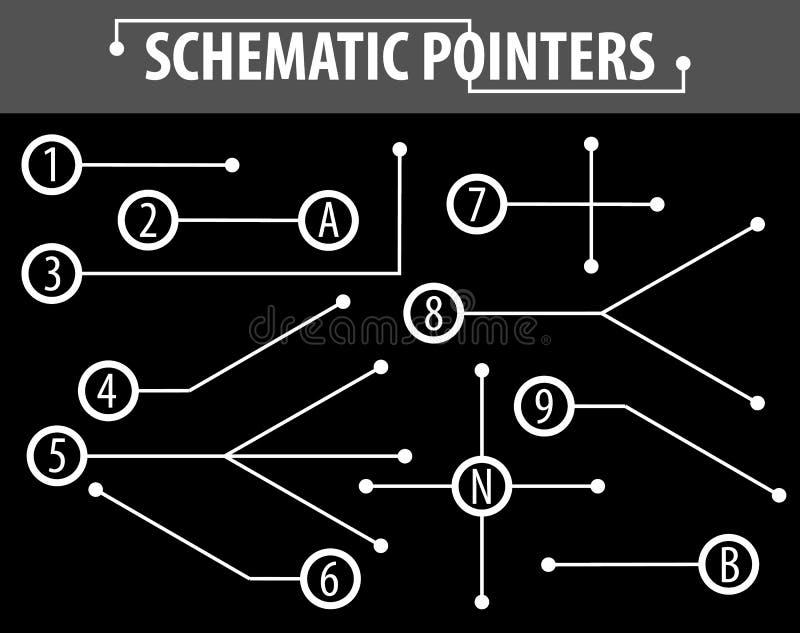 Indicateurs schématiques Lignes d'extension pour indiquer les détails des dessins et des diagrammes Les éléments de la conception illustration stock