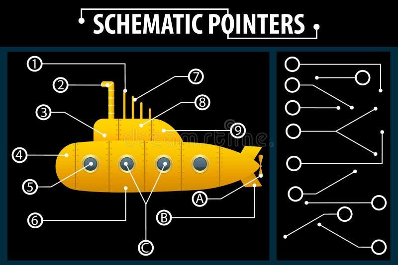 Indicateurs schématiques Lignes d'extension pour indiquer les détails des dessins et des diagrammes Les éléments de la conception illustration de vecteur