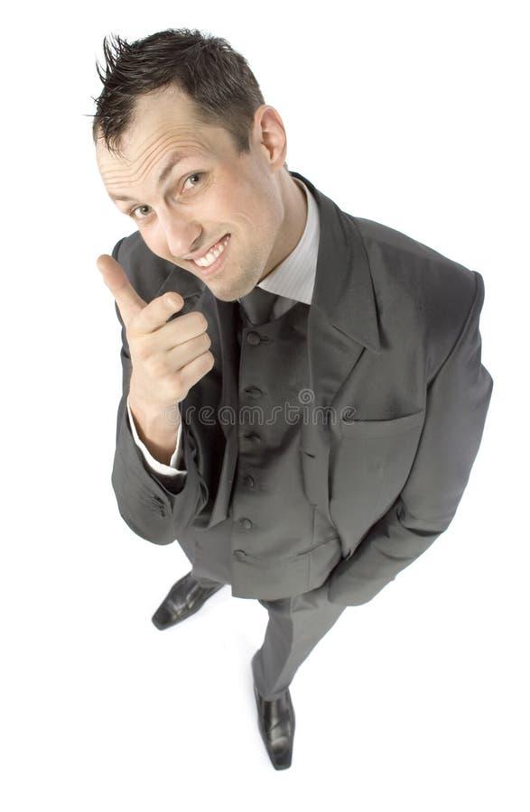 indication par les doigts d'homme d'affaires image stock