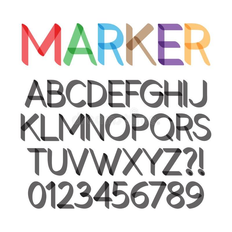 Indicatore audace arrotondato Pen Font e numeri royalty illustrazione gratis