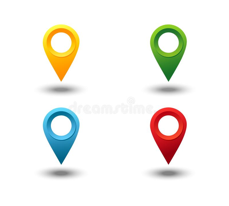 Indicatore 3D Insieme di vettore del perno del puntatore della mappa isolato su fondo bianco Punto di posizione di web, segno del royalty illustrazione gratis