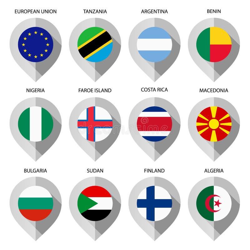 Indicatore da carta con la bandiera per la mappa - metta in secondo luogo illustrazione di stock