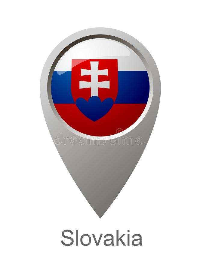 Indicatore della mappa con la bandiera dello stato della Slovacchia illustrazione vettoriale