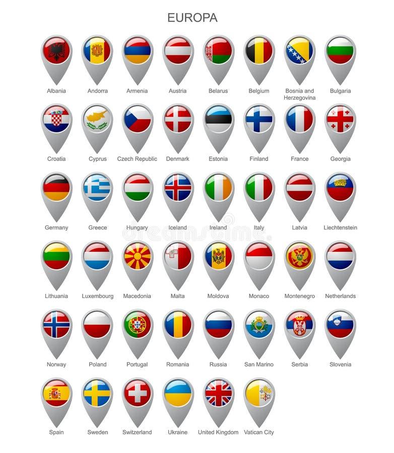 Indicatore della mappa messo con le bandiere dell'europa illustrazione di stock