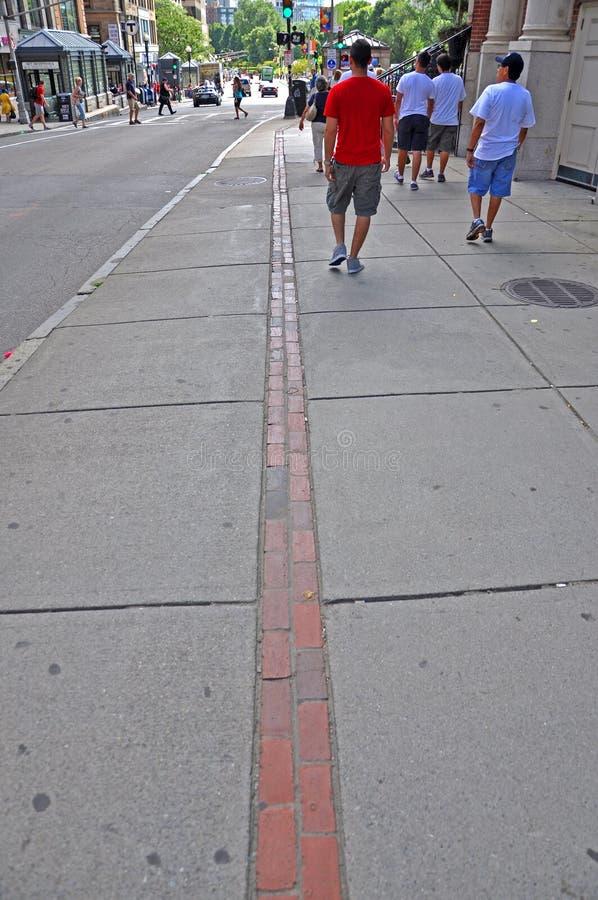 Indicatore della traccia di libertà di Boston, Massachusetts, U.S.A. fotografie stock
