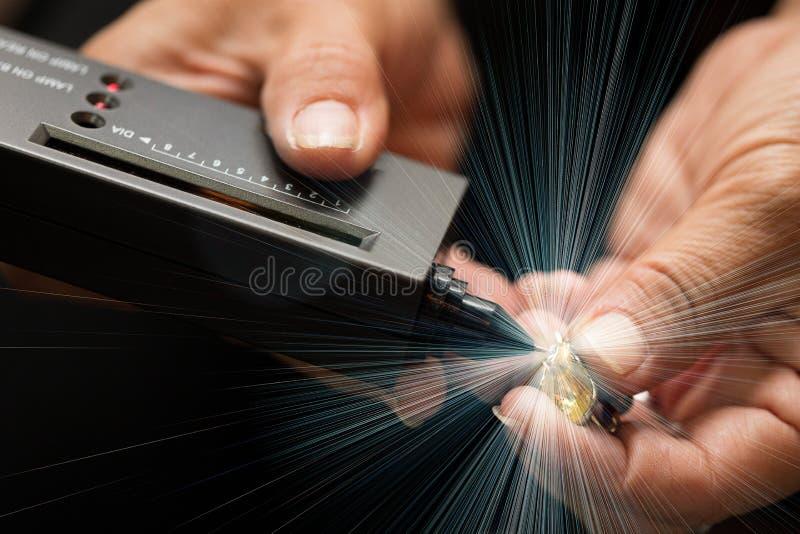Indicatore di Diamond Tester Gemstone Selector Gem LED fotografie stock libere da diritti