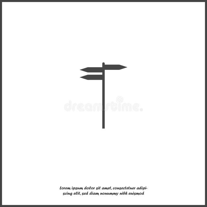 Indicatore di direzione della via Simbolo di direzione di viaggio su fondo isolato bianco Strati raggruppati per l'illustrazione  illustrazione vettoriale