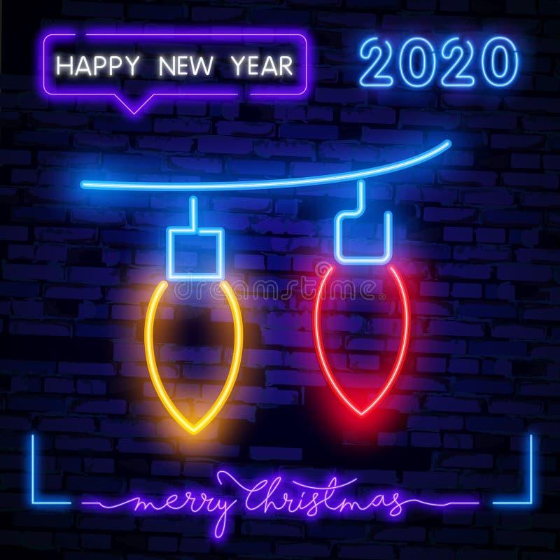 Indicatore di neon di garland Natale, Capodanno, design celebrativo Segno di neon luminoso notturno, cartellone colorato, luce illustrazione vettoriale