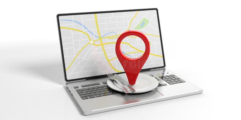 Indicatore di posizione e regolazione di posto sul computer portatile isolato su bianco illustrazione 3D illustrazione di stock