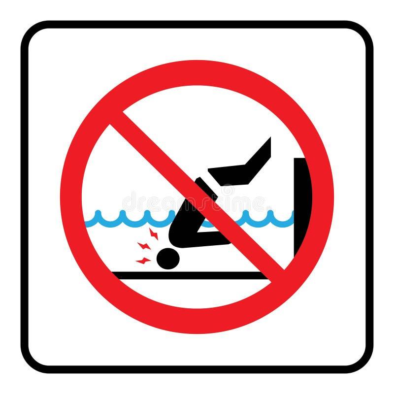 Indicatore di profondità dello stagno Nessun segno di immersione subacquea illustrazione di stock