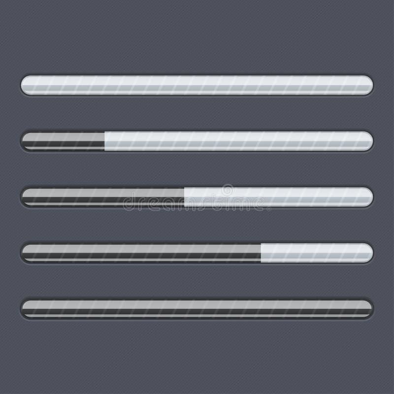 Indicatore di stato di caricamento Interfaccia nera di web con le linee grige illustrazione di stock
