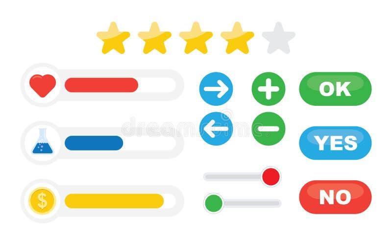 Indicatore di stato del gioco ed icone delle risorse royalty illustrazione gratis