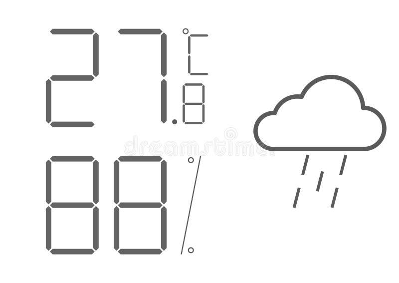 Indicatore LCD di vettore, igrometro del termometro digitale Widget della stazione metereologica, l'attrezzatura che indica tempe illustrazione di stock